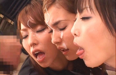 Maria Ozawa and Asian models fondling each other and sucking cock