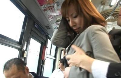 Honami Takasaka Asian model fucked in the bus