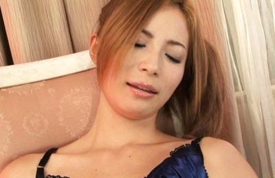Shiori Ayase Hot Japanese babe rubs her pink pussy