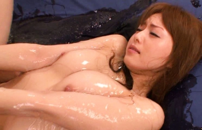Akiho Yoshizawa Asian model is covered in lube and fucked hard