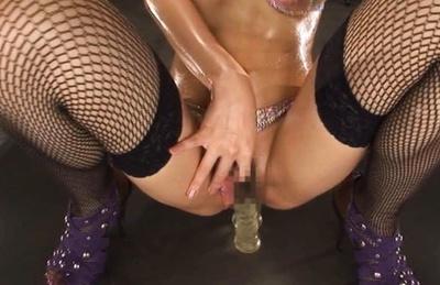 Serina Hayakawa Asian model in sexy stockings gets her pussy fingered