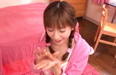 Yuma Asami cutest blowjob and cum on hands