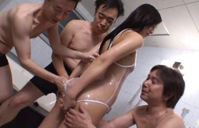 Sexy Ren Azumi covered in piles of cum!