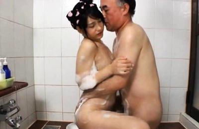 Horny grandpa gets a pity fuck from Mamiru Momone