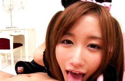 Eiro Chica Asian teen enjoys sucking cock as a catgirl