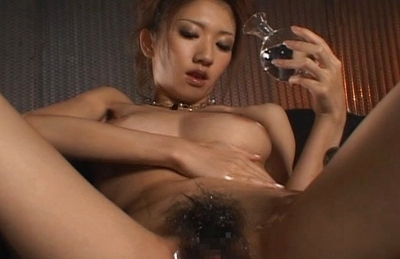 Asuka Sena Asian model gets poked by a huge dildo