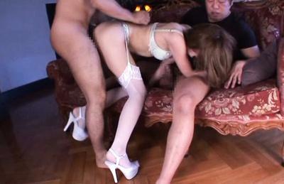 Exquisite Japanese milf Erika Shibasaki enjoys two cocks