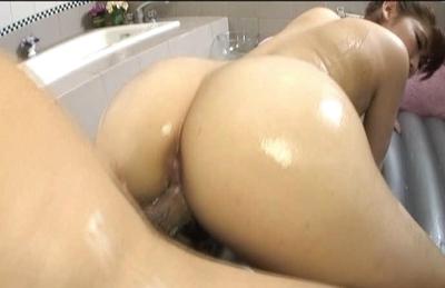Karin Kusunoki Naughty Aian model is covered in oil