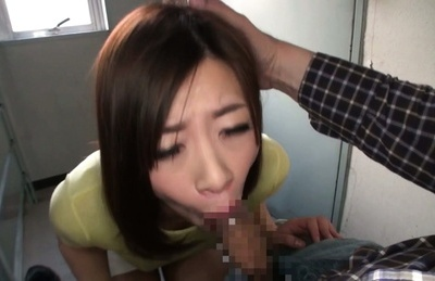 Busty Japanese cutie feels hard dick fucking her horny mouth