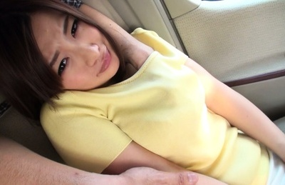 Hot Asian babe with big tits and sensuous lips gets drilled in a car