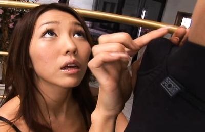 Shiori Tsukimi Naughty Asian model gets cumshot after sucking cock