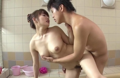 Adorable Japanese milf Misa Kudou gets banged in a bathroom