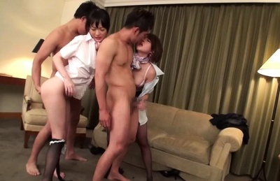 Horny Emiri Takayama enjoying cock in nasty Asian foursome