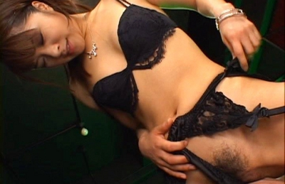 Mihiro Asian doll in sexy black lingerie gets a hard fucking
