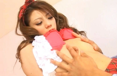 Risa Tsukino Asian doll in school uniform enjoys fucking
