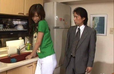 Riko Tachibana Asian office girl cleans rooms and fucks with guests